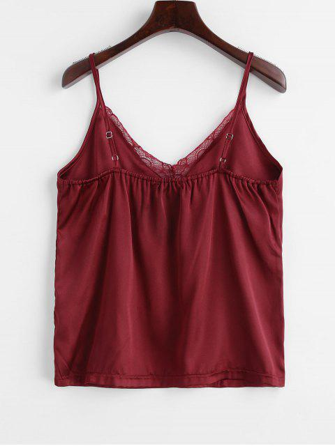 women ZAFUL Satin Lace Panel Cami Top - RED WINE S Mobile