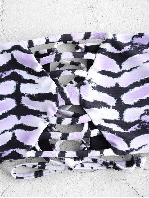 womens ZAFUL Lattice Lace Up Bandeau Bikini Set - MULTI-A S Mobile