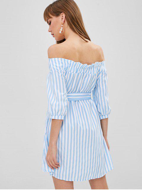 Robe Boutonnée Rayée à Epaule Dénudée - Bleu de Ciel  M Mobile