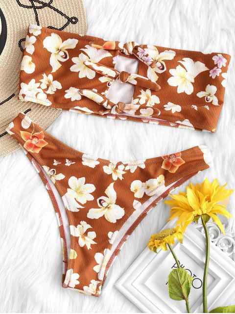 online ZAFUL Flower Knotted Bandeau Bikini Set - MULTI-A L Mobile