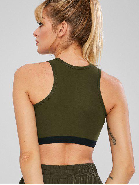 Elastisches Crop Gym Tanktop - Armeegrün M Mobile
