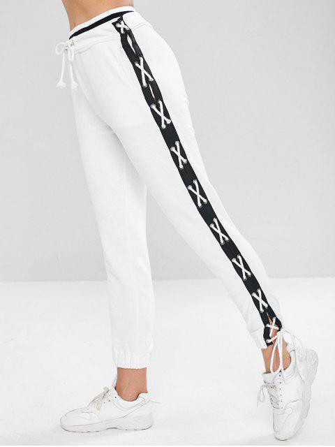 Seitliche Sporthose mit Schnürung - Weiß M Mobile