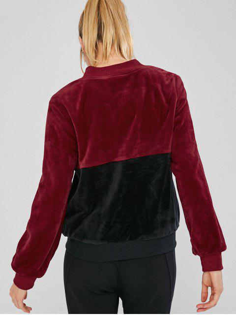 sale ZAFUL Velvet Color Block Jacket - BLACK S Mobile