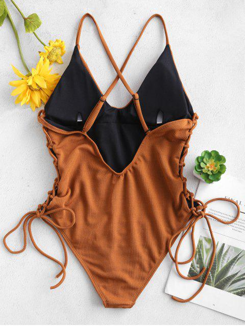 繫帶交叉高幫泳衣 - 棕色 XL Mobile