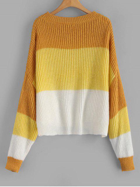 best ZAFUL Oversized Stripes Sweater - MULTI-C ONE SIZE Mobile