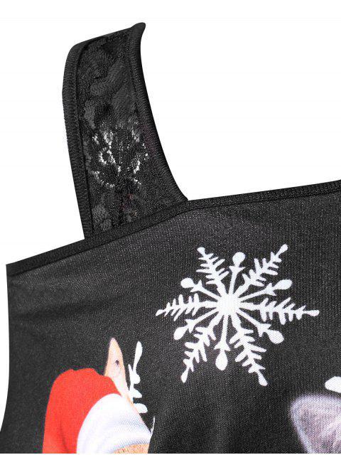 outfit Plus Size Lace Insert Faux Twinset Christmas T-shirt - BLACK 2X Mobile