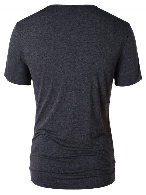 T-shirt Tordu en Blocs de Couleurs - Gris XL Mobile