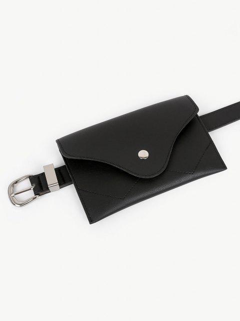 fancy Vintage Faux Leather Fanny Pack Belt Bag - BLACK  Mobile