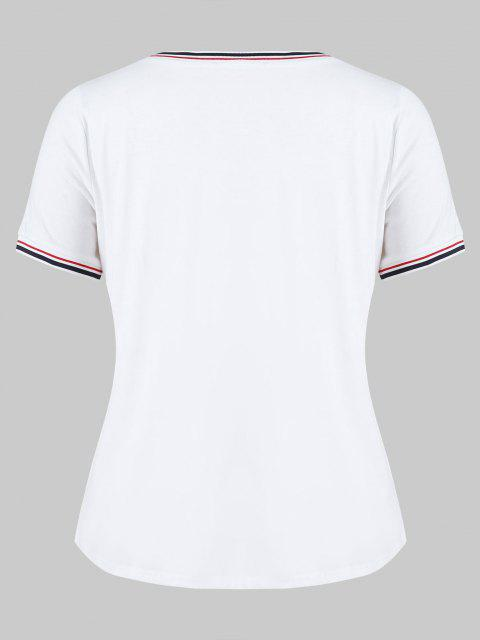 T-shirt taille plus à rayures - Blanc 1X Mobile