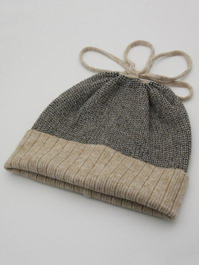 Bowknot Acrylic Flanging Knitted Beanie - Camel Brown 2c37de1170f0