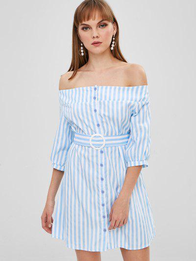 Button Up Stripes Off Shoulder Dress - Day Sky Blue S
