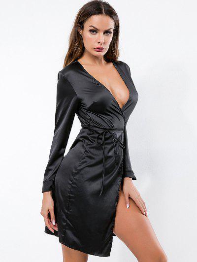 3a7b55a74e ... Vestido De Manga Larga De Satén - Negro S