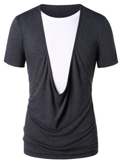 Faux Twinset Color Block T-shirt - Gray 2xl
