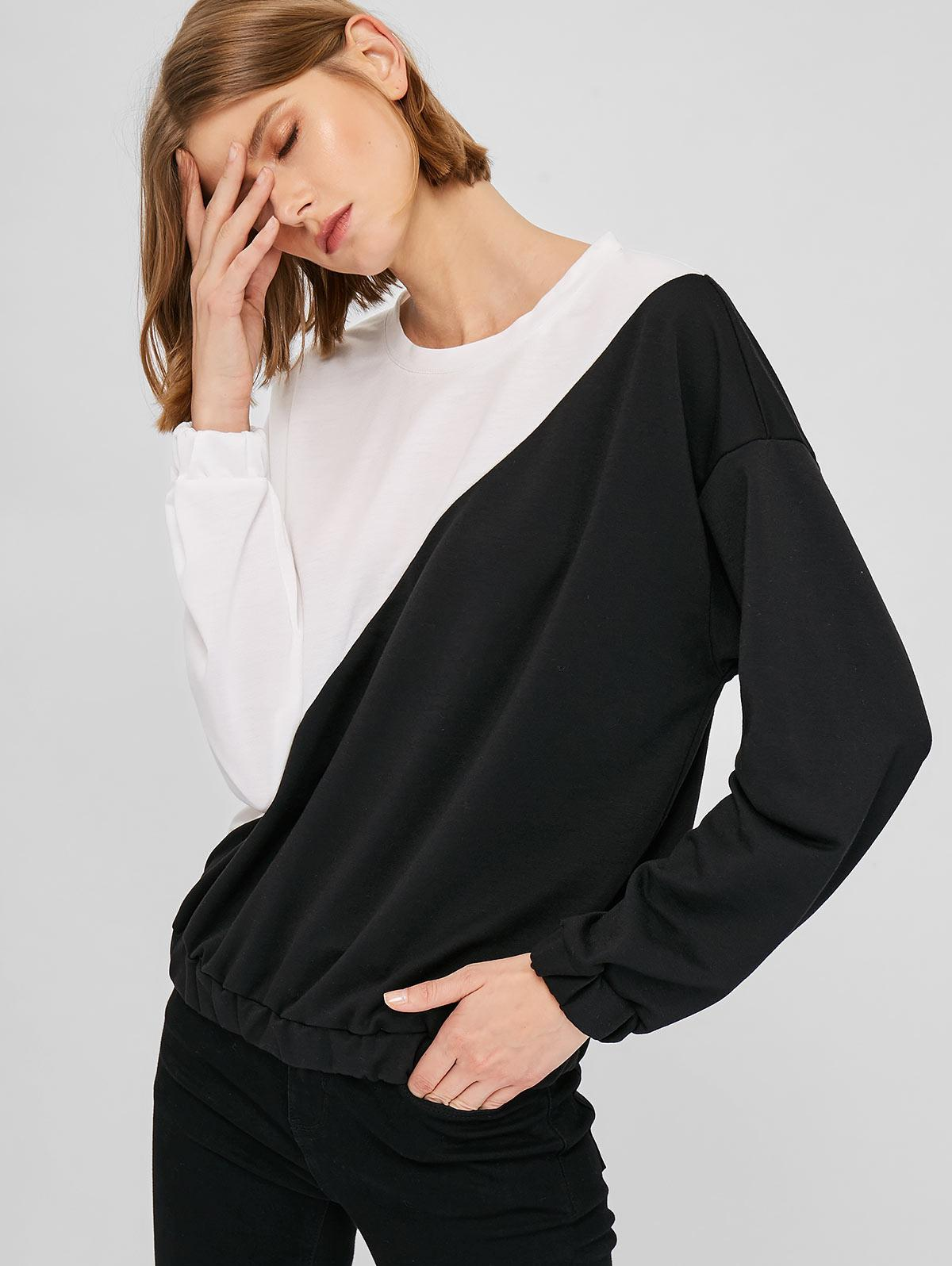 Loose Drop Shoulder Two Tone Sweatshirt