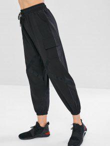 سروال جيب الرباط - أسود Xl