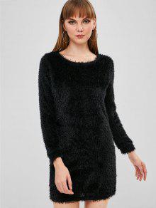 فستان قصير ناعم - أسود L