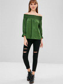 4b701d8abcf18e 47% OFF  2019 Bow Back Smocked Off The Shoulder Top In MEDIUM SEA ...