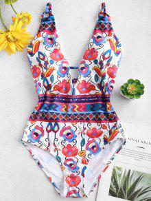 لباس سباحة من قطعة واحدة مزين بأزهار بأربطة متقاطعة في الخلف - الأزهار L