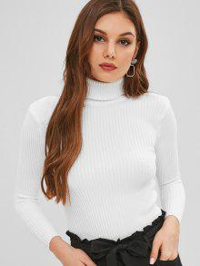 3364f602cf88 35% OFF  2019 Slim Ribbed Turtleneck Sweater In WHITE