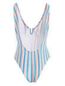 315682511f 22% OFF] 2019 ZAFUL Colorful Stripe Underwire One Piece Swimsuit In ...