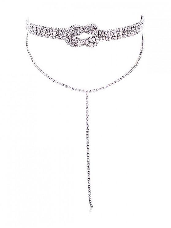 shop Layered Fully Jewelled Bowknot Design Long Necklace - SILVER