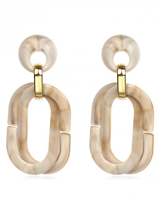 ladies Acrylic Geometric Round Hollow Earrings - BEIGE