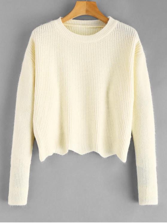 affordable Zig Zag Hem Crop Knitwear - WARM WHITE ONE SIZE