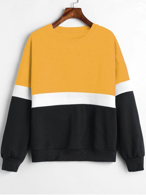 Цветной блок Шерсть Толстовка - Пчела-желтый L