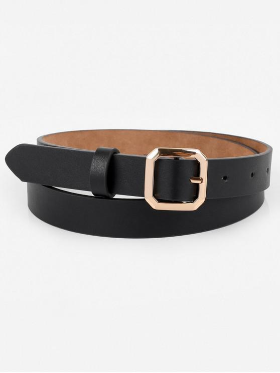 sale Geometry Buckle Artificial Leather Belt - BLACK