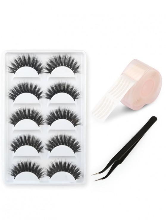 buy Professional 5 Pairs Handmade False Eyelashes Double Eyelid Sticker and Tweezer Set - BLACK