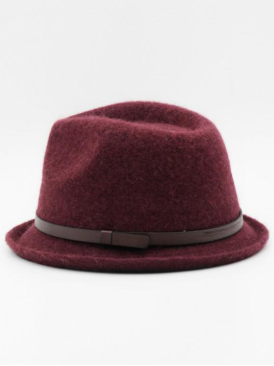 womens Ribbon Solid Color Jazz Hat - RED WINE
