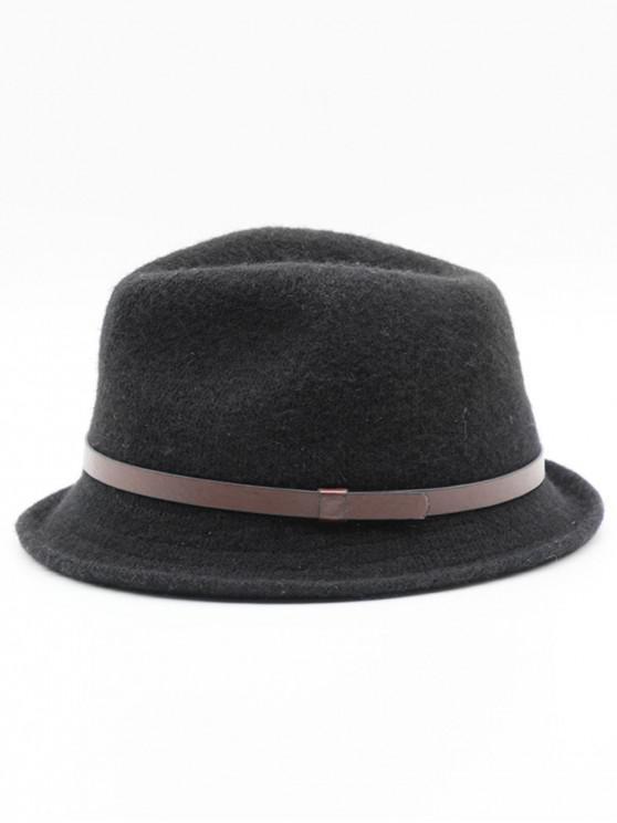 women Ribbon Solid Color Jazz Hat - BLACK