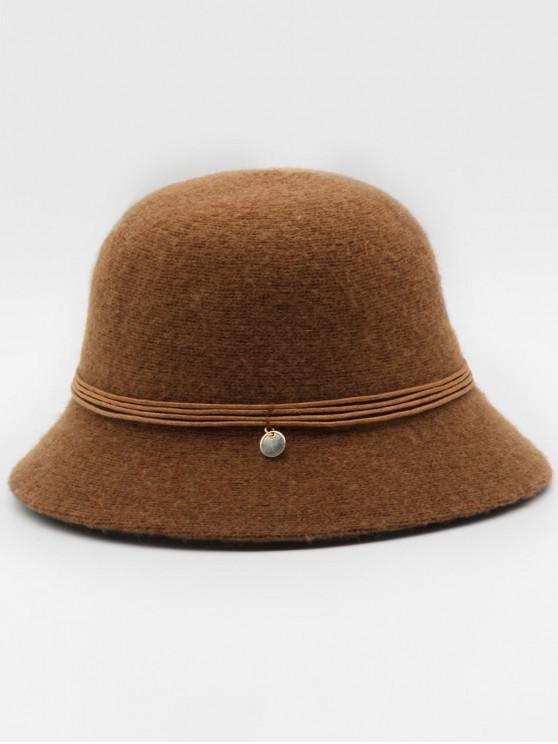 lady Vintage Sequin Solid Color Bucket Hat - BROWN