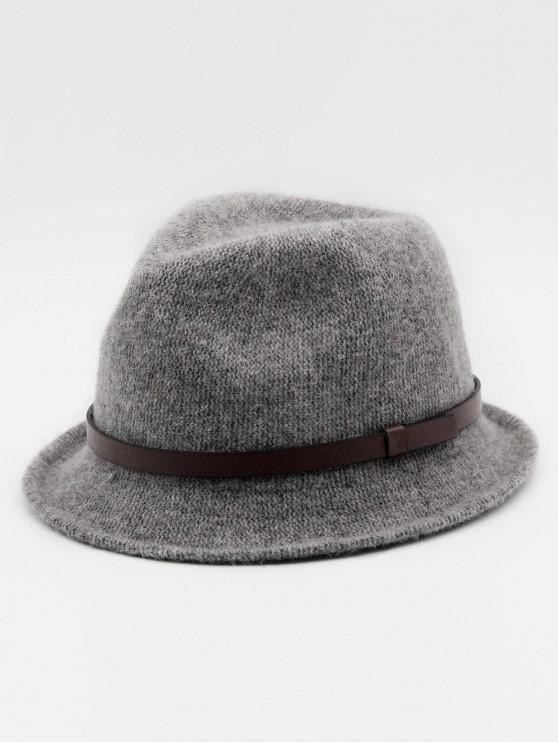 online Ribbon Solid Color Jazz Hat - GRAY