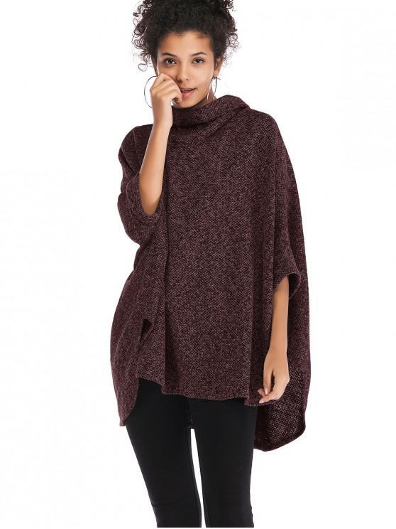Cuello alto capucha suéter poncho - Vino Tinto Talla única