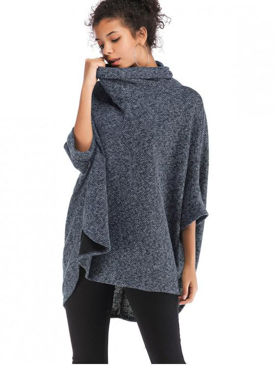 latest Cowl Neck Oversized Poncho Sweater - BLUE GRAY ONE SIZE