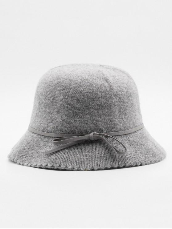 sale Vintage Bowknot Solid Color Holiday Hat - GRAY