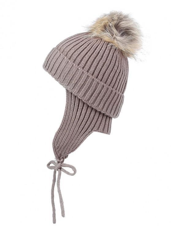 Outdoor Fuzzy Ball Knitting Slouchy Beanie - قهوة منتظم