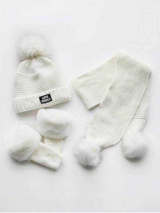 women Winter Fuzzy Ball Knitted Beanie Scarf and Gloves Set - WHITE