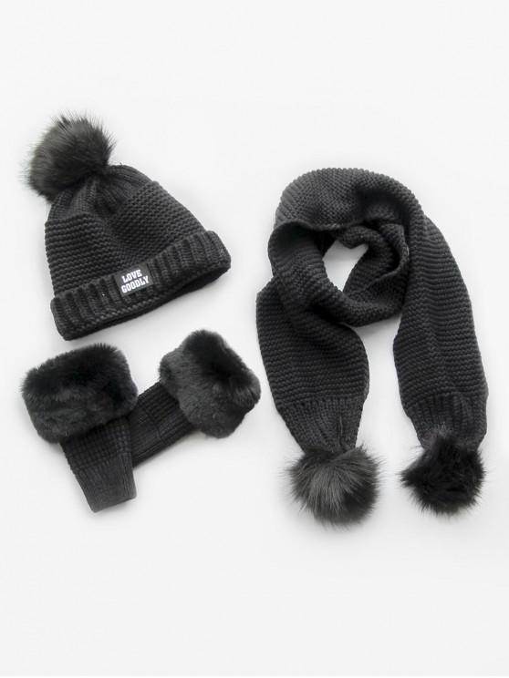 2019 Winter Fuzzy Ball Knitted Beanie Scarf And Gloves Set In BLACK ... a98358a780d