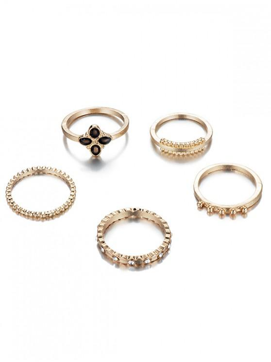 6Pcs Rhinestoned Fine Circle Shape Rings Set - ذهب