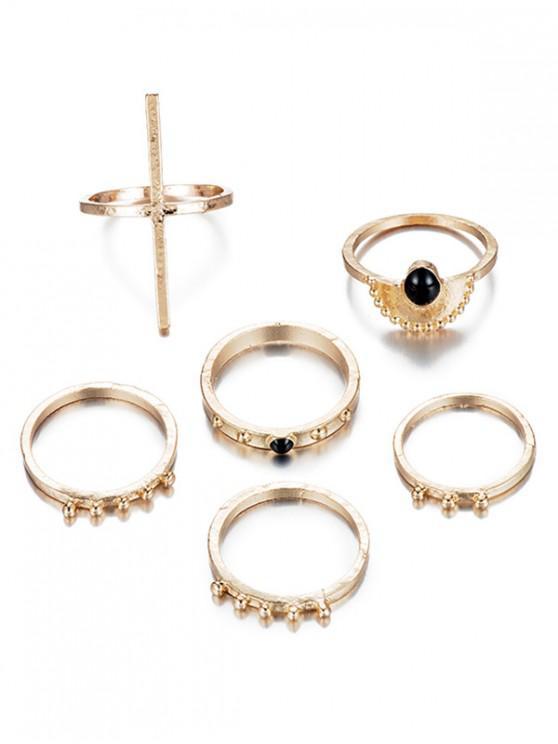women's 6Pcs Vintage Design Rhinestoned Rings Set - GOLD