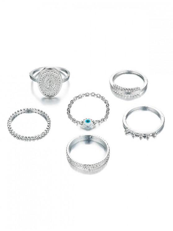 lady 6Pcs Ethnic Style Alloy Rings Set - SILVER