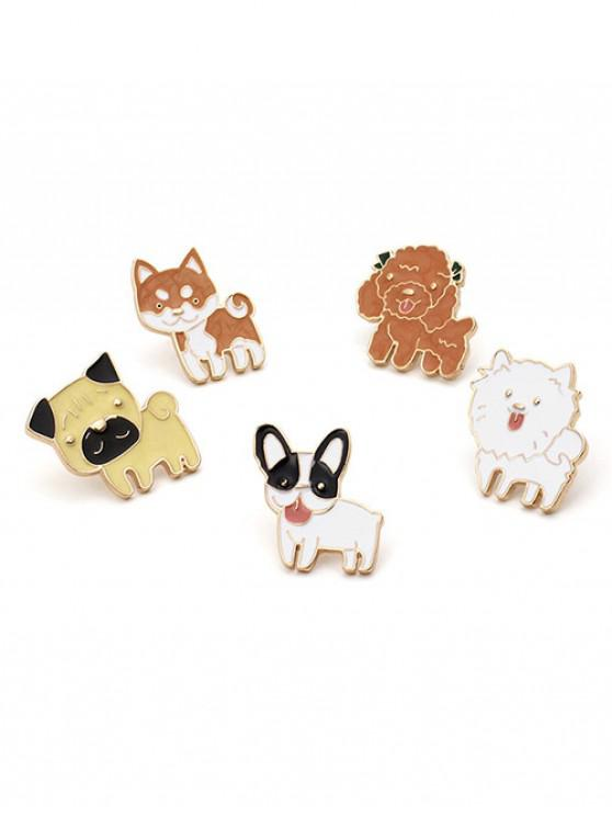outfits 5Pcs Toy Poodle Pattern Brooches Set - MULTI-A