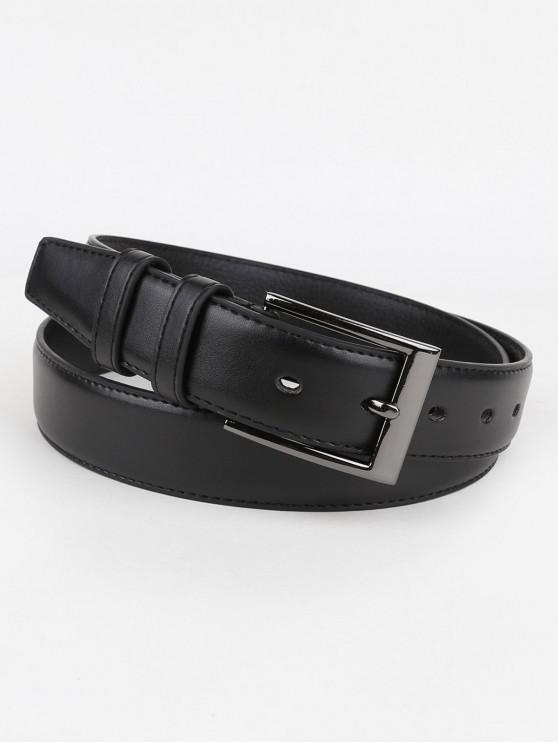 Unique Silver Buckle Artificial Leather Waist Belt - Preto