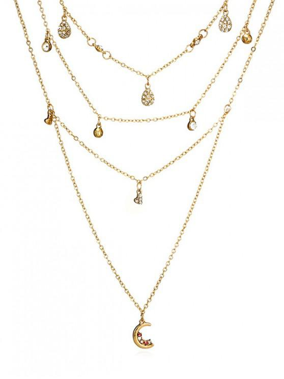 fancy Layered Water Drop Pattern Rhinestoned Necklace - GOLD