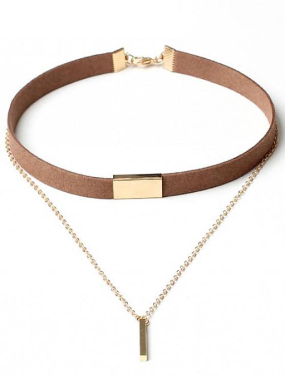 sale Geometric Layered Suede Design Pendant Necklace - TIGER ORANGE