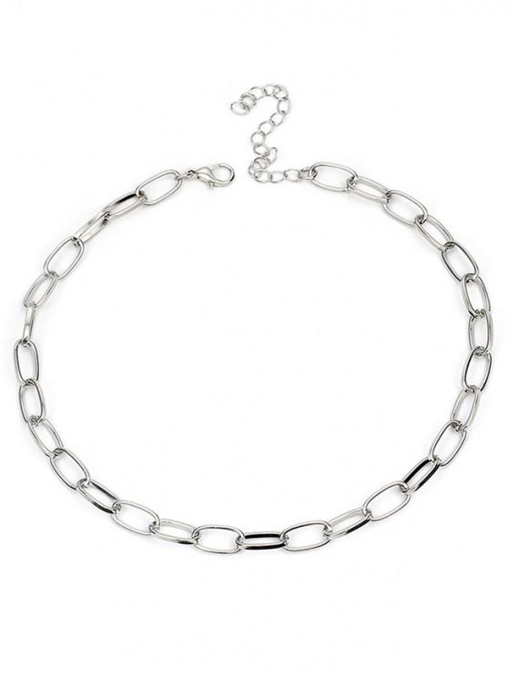 women Alloy Lock Chain Design Necklace - SILVER