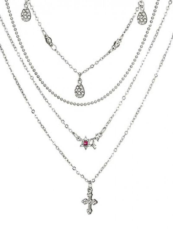 new Layered Flower Pattern Rhinestone Necklace - SILVER