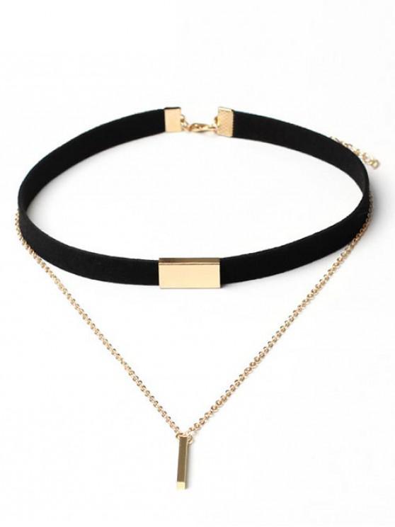 shop Geometric Layered Suede Design Pendant Necklace - BLACK